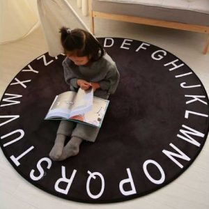 Alphabet Rug in Black 120cm diameter