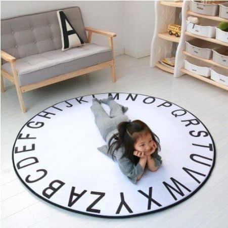 Alphabet Rug in White 120cm diameter