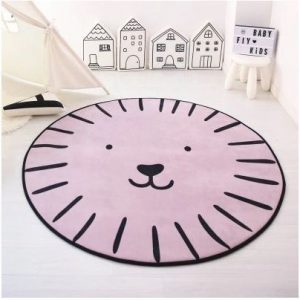 Cute Face Rug in Pink 120cm diameter