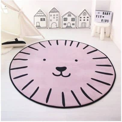 Cute Face Rug in Pink 120cm diameter