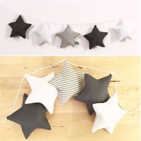 Star garland Black & White Stripes