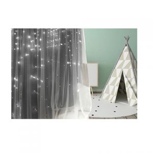 Grey blockout tulle overlay curtain Image 2