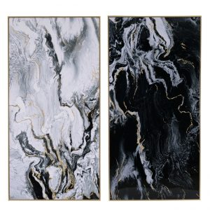 Set of 2 Hand-crafted Marbled Print Artwork