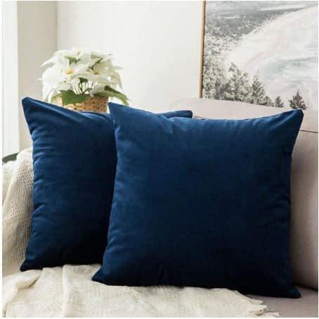 Velvet Cushion Cover Blue