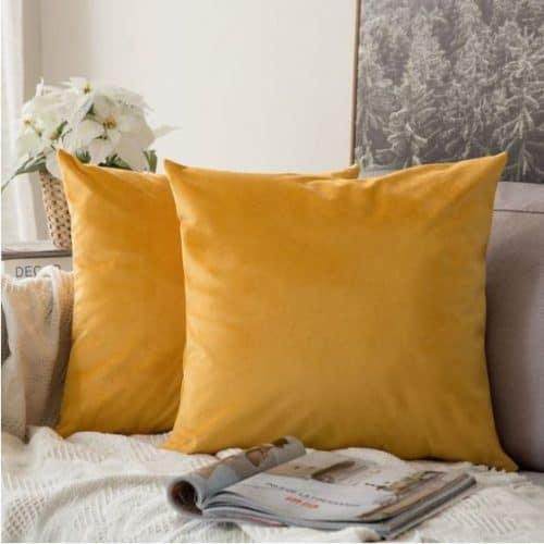 Velvet Cushion Cover Yellow
