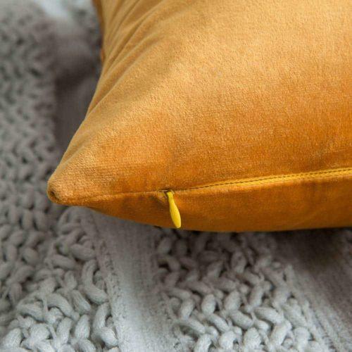 Velvet Cushion Cover Yellow Detail 2