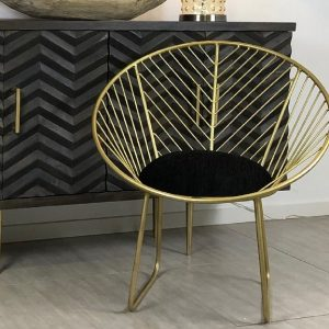 Geometric Brass Finish Metal Chair