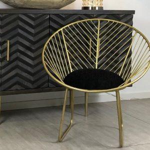 Geometric Brass Finish Metal Chair
