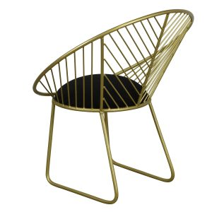 Geometric Brass Finish Metal Chair IMG4