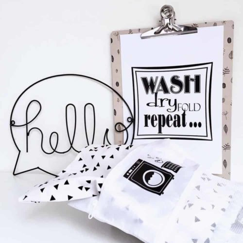 Hello wall art sign in laundry