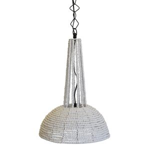Botswana Beaded Pendant Light White Small