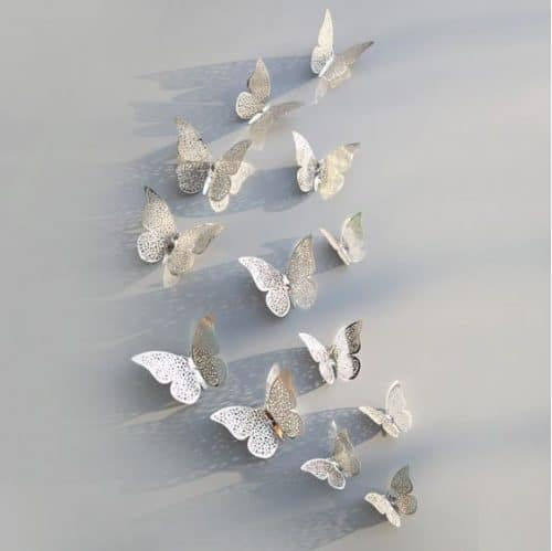 Butterfly Wall Stickers Silver Design 1