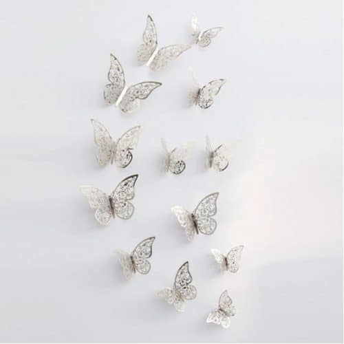 Butterfly Wall Stickers Silver Design 2