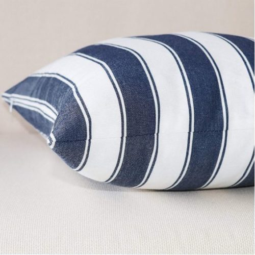 Jolene Navy Striped Cushion Cover Close up