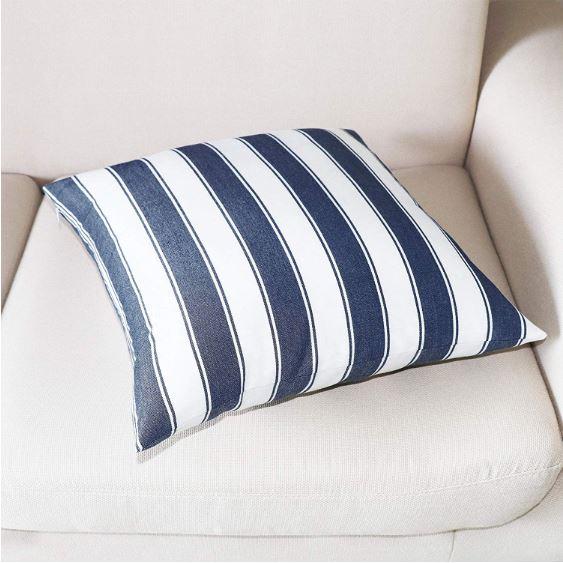 Jolene Navy Striped Cushion Cover image 2