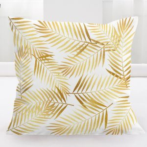 Gold Palm Print Cushion Cover 45x45cm