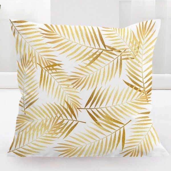 Gold Palm Print Cushion Cover 45x45cm