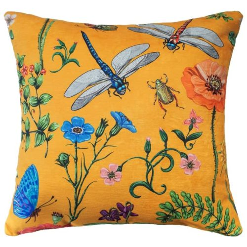 Modern Jungle Cushion Cover Yellow Dragonfly