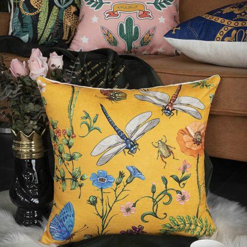 Modern Jungle Cushion Cover Yellow