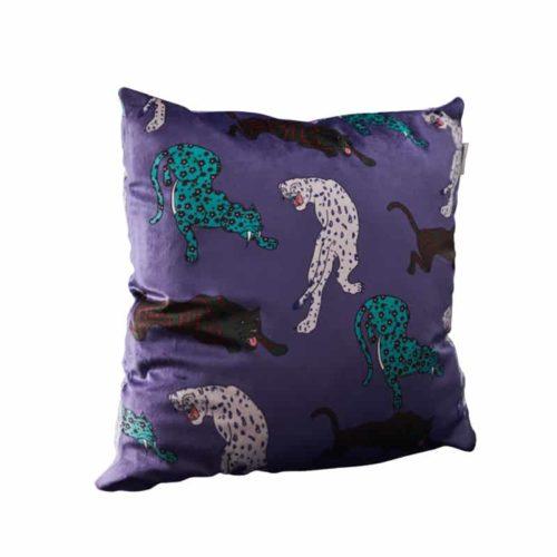 Millicent Luxury Velvet Leopard Print Cushion Cover purple