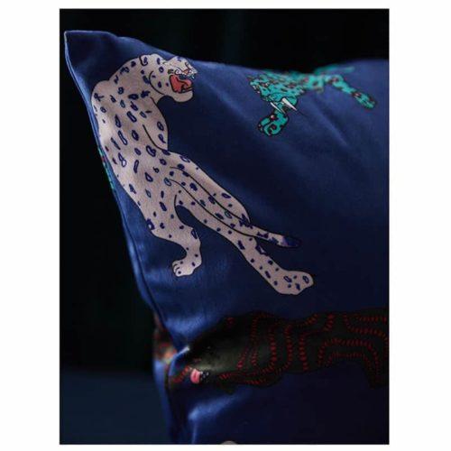 Millicent Luxury Velvet Leopard Print Cushion Cover blue close