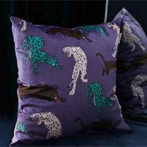 Millicent Luxury Velvet Leopard Print Cushion Cover purple