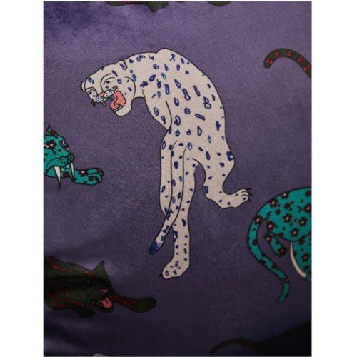 Millicent Luxury Velvet Leopard Print Cushion Cover purple close