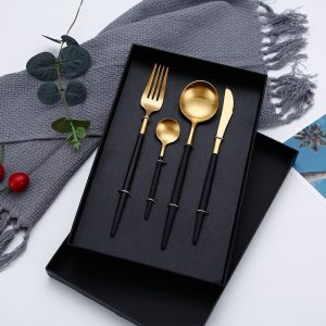 Metallic Cutlery set black gold