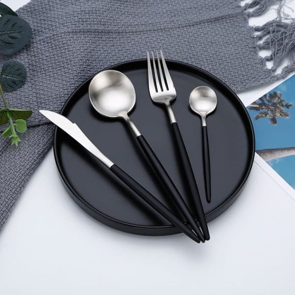 Metallic Cutlery set Silver Black