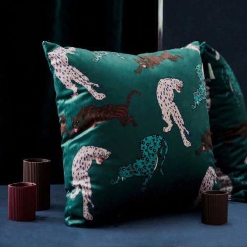 Millicent Luxury Velvet Leopard Print Cushion Cover green