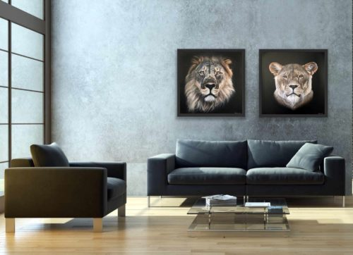 Mary Zammit Lion and Lioness Prints