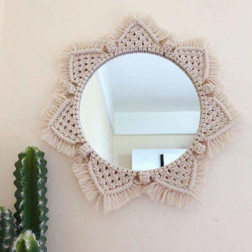 Boho Mirror Macrame Flower Design