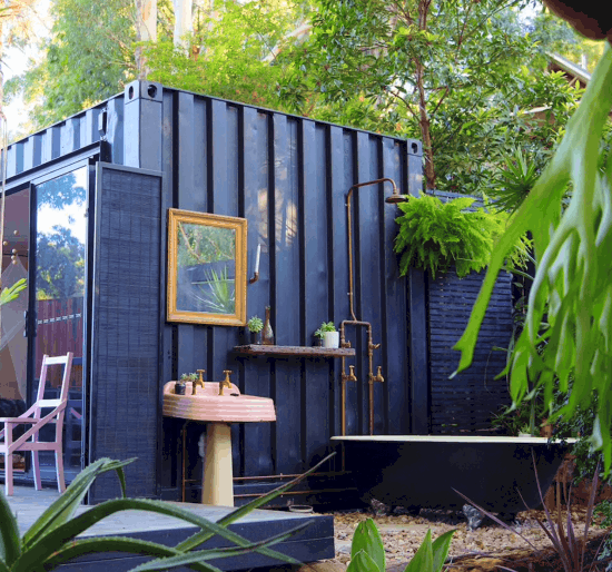20ft Container home with outdoor bathroom