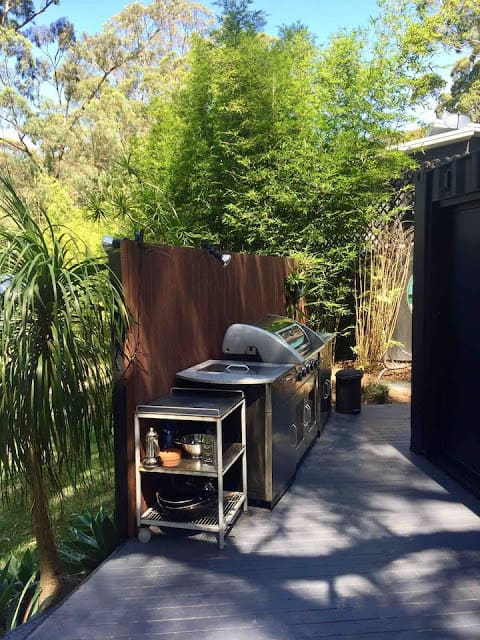 20ft Container - Outdoor kitchen area on deck with bbq