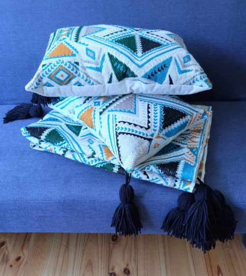 Plumbago aztec range pillows. Set of two pillows and throw on sofa.