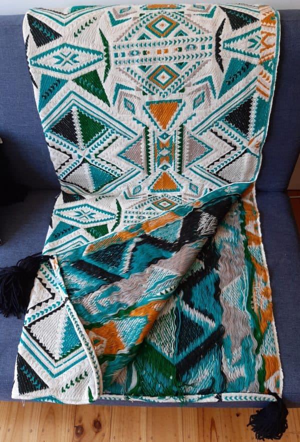 Plumbago aztec range pillows. Throw reverse side.