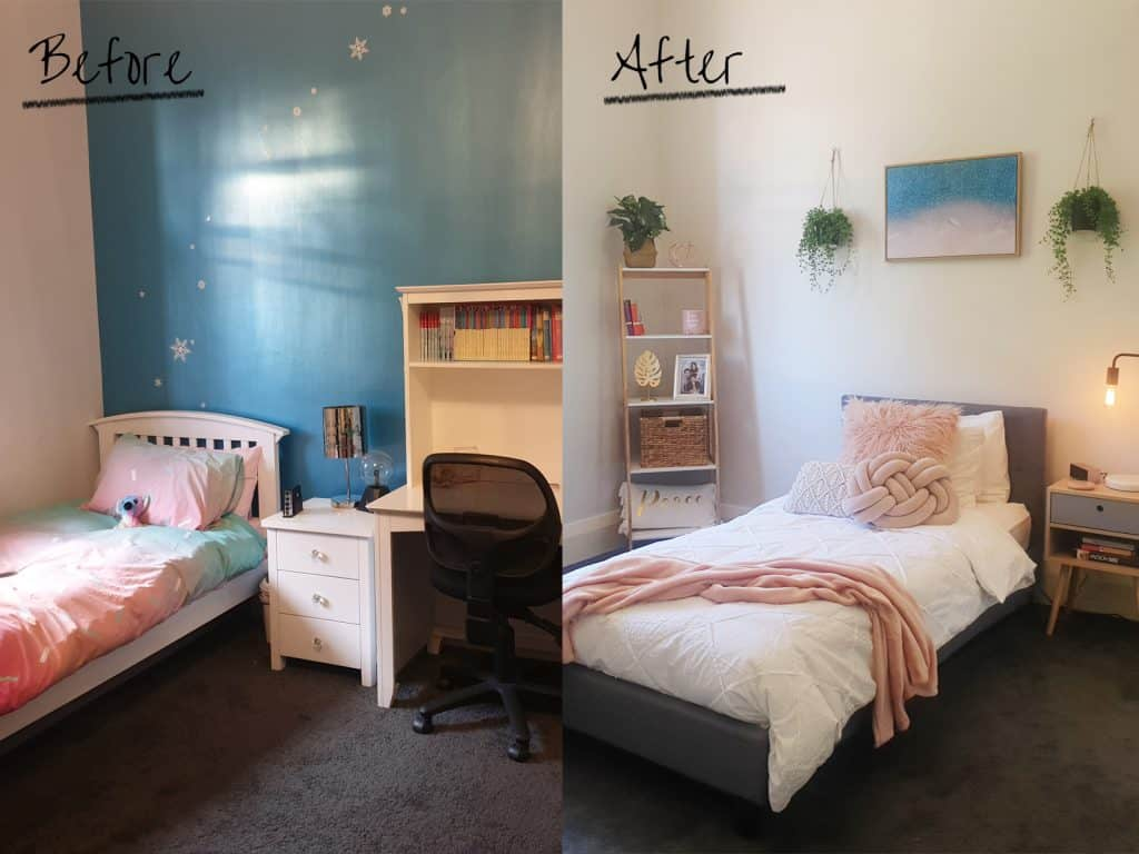 Before and after photos of teenage girls room makeover.
