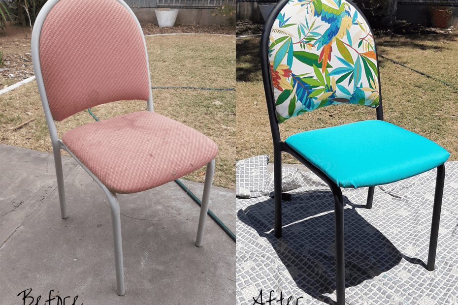 Chair upcycle project before and after photos. New fabric and spray painted matte black frame.