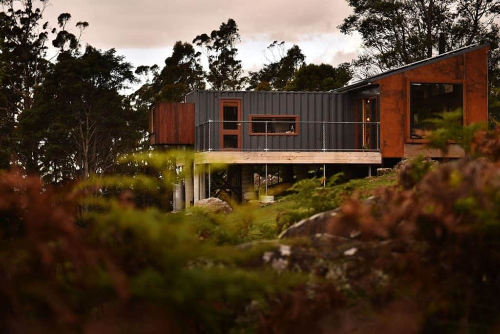 The Container - recycled shipping container home side elevation in Tasmania