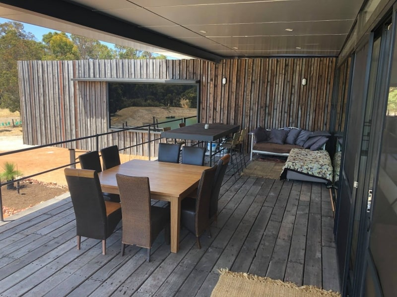 Kaloorup large deck area provides additional dining and living spaces outdoors