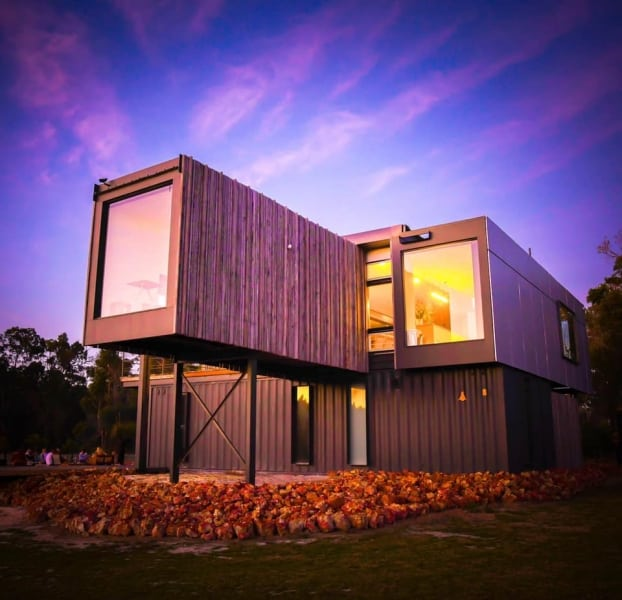 Kaloorup Container Home front with cantilever container