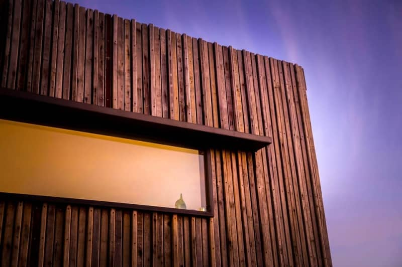 Kaloorup container home exterior cladding from recycled jarrah wood found at nearby demolition properties