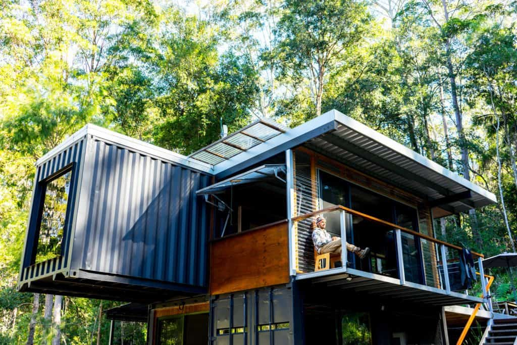 Off-grid Container Home front elevation – Byron Bay NSW Australia