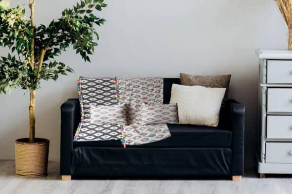 Plumbago colourful pompom sofa