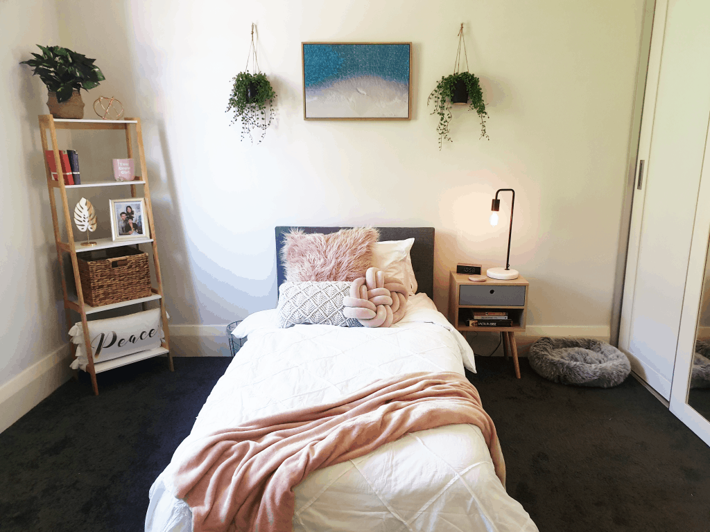 DIY Bedroom Makeover - bed with pink throw, hanging plants and picture above bed. Light bulb bedside lamp and book shelves.