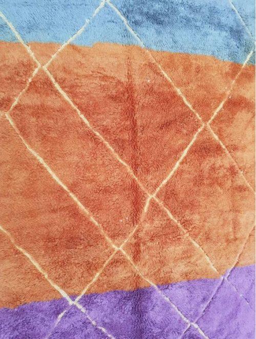 Adilah Purple Orange Rug close up of orange section