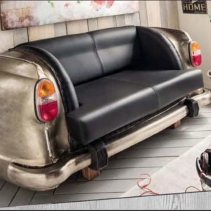 Antique Nickel Backseat Car Sofa in living room