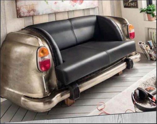Antique Nickel Backseat Car Sofa in living room