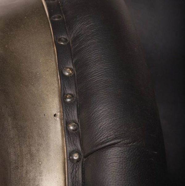 Antique Nickel Backseat Car Sofa close up detail of leather and nickel