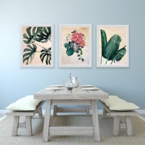 Beauty from Broken Full Set by Mary Zammit. Set of 3 prints mounted on wall above dining table.